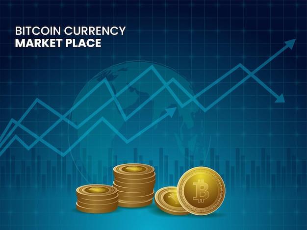 Projeto de conceito de mercado de moeda bitcoin