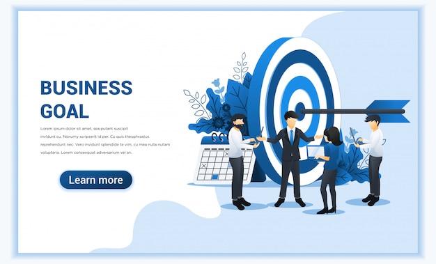 Projeto de conceito de negócio com pessoas trabalhando juntas para atingir o alvo de negócios.