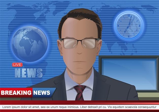 Projeto de conceito de notícias de última hora com apresentador de tv. âncora de notícias no estúdio do canal de tv. apresentador na tv.