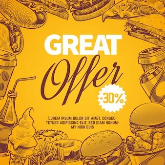 Projeto de conceito de oferta de fast food