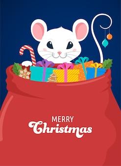 Projeto de conceito de rato do papai noel, ano novo chinês e feliz natal. ilustração vetorial em estilo simples