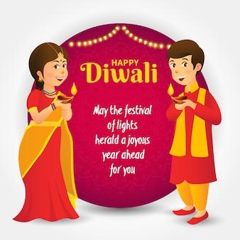 Projeto de conceito de saudação de diwali