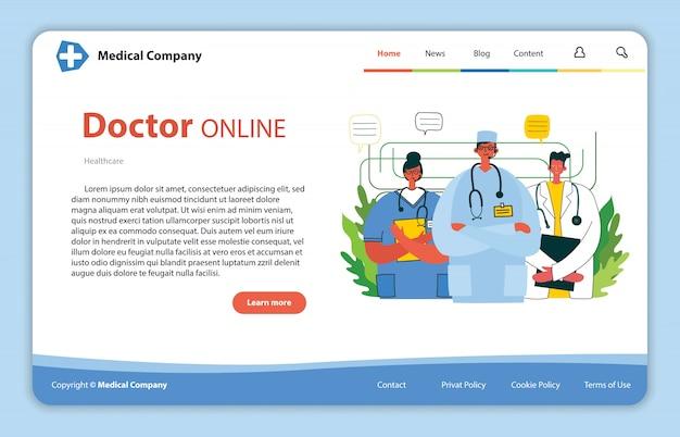 Projeto de conceito de site para recursos de ajuda médica. abordagem de ajuda instantânea do médico online. solução de negócios de saúde.
