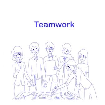 Projeto de conceito de trabalho em equipe do vetor.