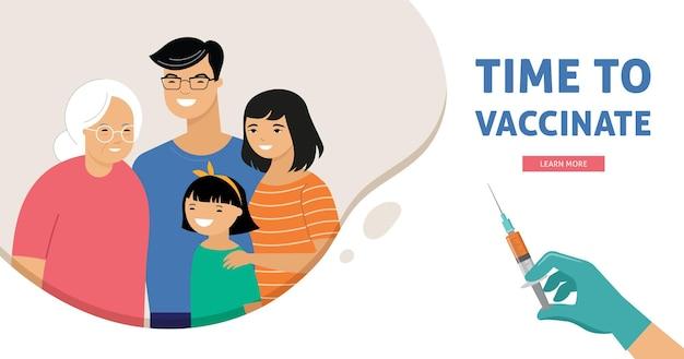 Projeto de conceito de vacinação de família asiática. banner da hora de vacinar - seringa com vacina para covid