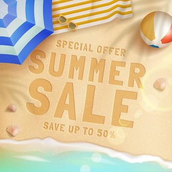 Projeto de conceito de venda de verão realista