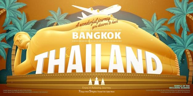 Projeto de conceito de viagens para a tailândia com fundo gigante reclinado de buda e palmeiras