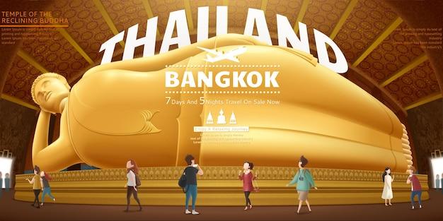 Projeto de conceito de viagens para a tailândia com um buda reclinado gigante e turistas
