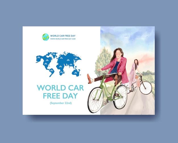 Projeto de conceito do dia mundial sem carro para mídias sociais e vetor de aquarela de internet.