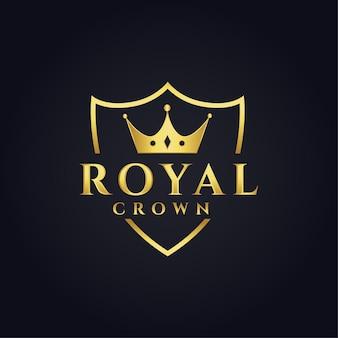 Projeto de conceito do logotipo real com formato de coroa