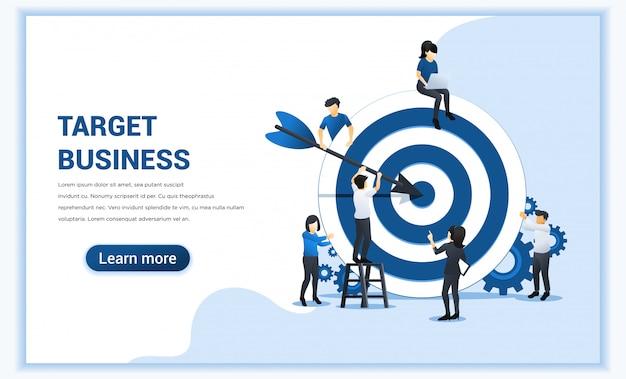Projeto de conceito do negócio web banner. as pessoas colocam dardos no alvo.