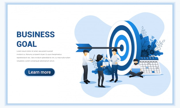 Projeto de conceito do negócio web banner. as pessoas trabalham para atingir a meta de negócios. atingir o negócio alvo, realização de metas, liderança.