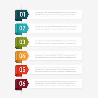 Projeto de conceito infográfico com 6 opções, etapas ou processos.