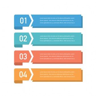 Projeto de conceito infográfico com quatro opções, etapas ou processos. pode ser usado para layout de fluxo de trabalho, relatório anual, fluxogramas, diagrama, apresentações, sites, banners, materiais impressos.