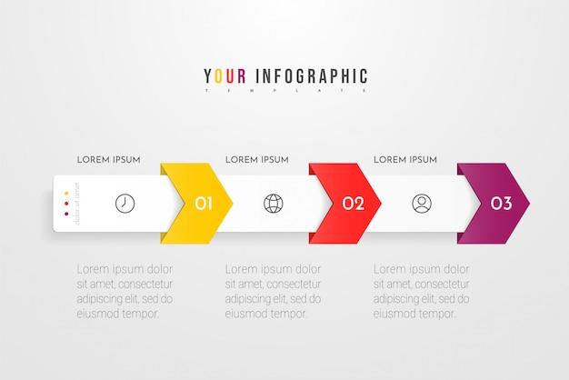 Projeto de conceito infográfico com três opções, etapas ou processos. pode ser usado para layout de fluxo de trabalho, relatório anual, fluxogramas, diagrama, apresentações, sites, banners, materiais impressos.