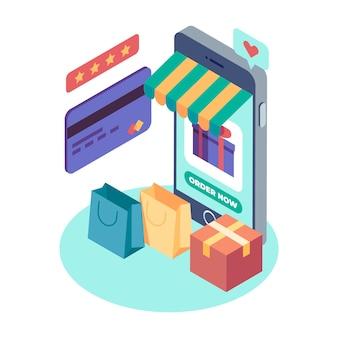 Projeto de conceito isométrico de comércio eletrônico