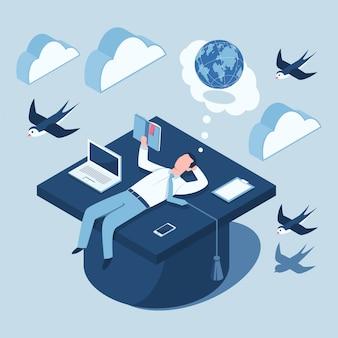 Projeto de conceito isométrico de educação. ilustração 3d plana de um estudante com um livro, laptop, prancheta e celular deitado sobre um boné de pós-graduação.