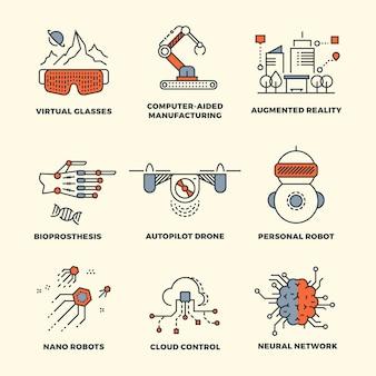 Projeto de conceitos de tecnologia fina linha futura