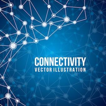 Projeto de conectividade sobre ilustração vetorial de fundo azul