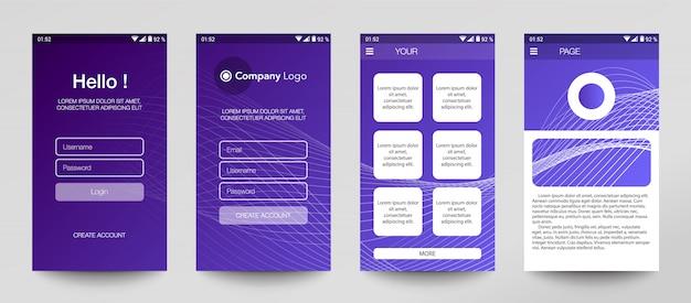 Projeto de conjunto de aplicativos móveis, interface do usuário, ux.
