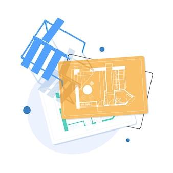 Projeto de construção, projeto de engenharia e arquitetura. estilo plano.