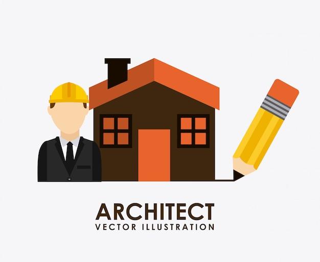 Projeto de construção sobre ilustração vetorial de fundo branco