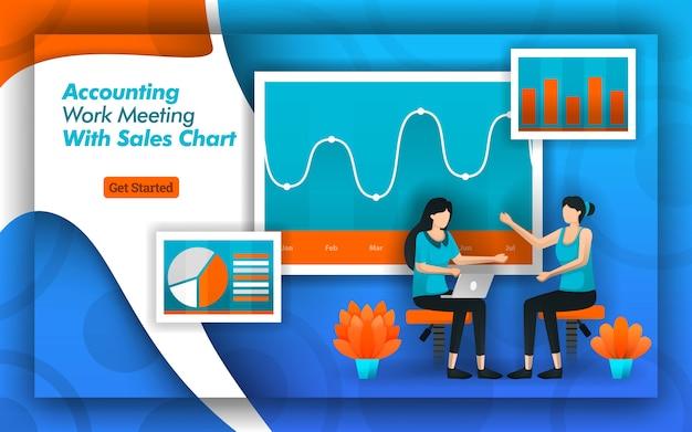 Projeto de contabilidade para reuniões com gráficos de vendas modernos