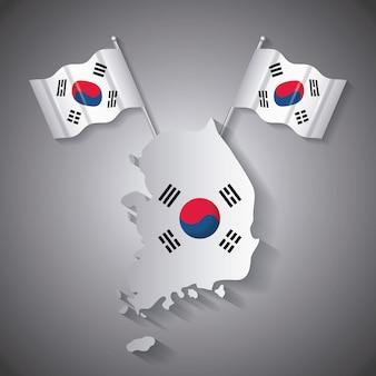 Projeto de coreia do sul com mapa e bandeiras