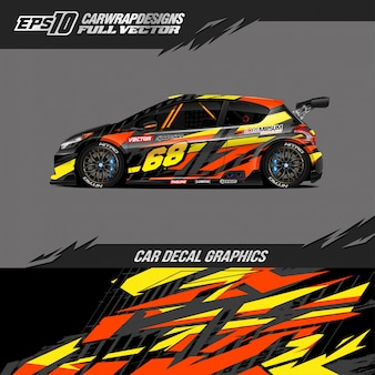 Projeto de corrida abstrata de envoltório de carro esporte