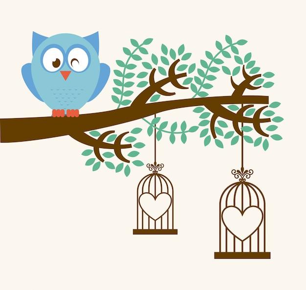 Projeto de coruja sobre ilustração vetorial de fundo branco
