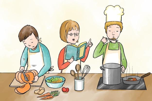 Projeto de cozinha de pessoas