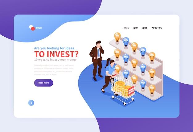 Projeto de crowdfunding escolhendo a página de destino do conceito de investimento de dinheiro