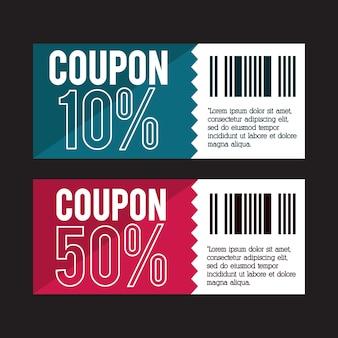 Projeto de cupom. ícone de venda. conceito de compras