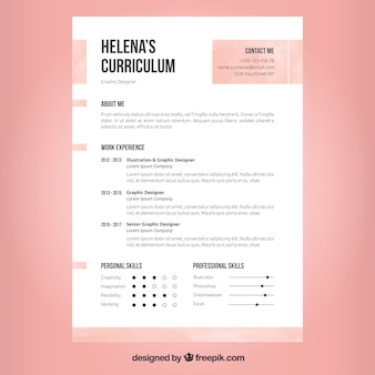 Projeto de currículo rosa e branco