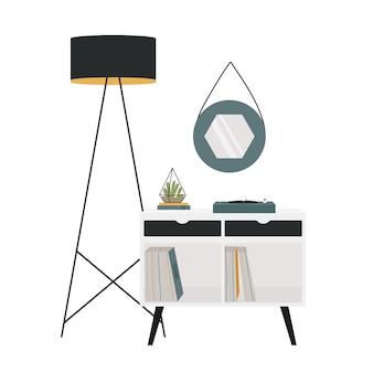 Projeto de decoração de interiores de móveis modernos para sala de estar em móveis de estilo retro