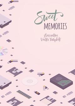 Projeto de decoração doce vector de memórias