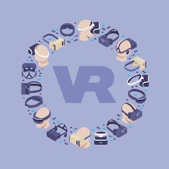 Projeto de decoração feito de fones de ouvido de realidade virtual isométrica