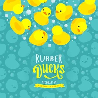 Projeto de decoração feito de patos de borracha amarela