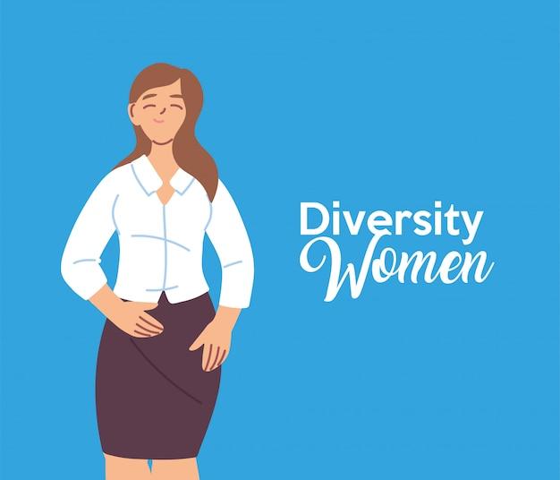 Projeto de desenho animado de mulher americana, tema de diversidade cultural e amizade