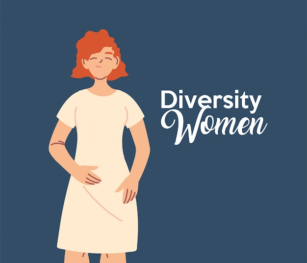 Projeto de desenho animado de mulher europeia, tema de diversidade cultural e amizade