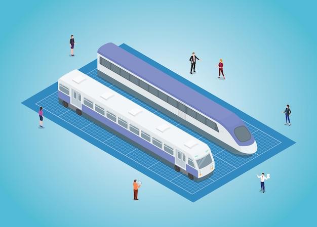 Projeto de desenvolvimento de transporte ferroviário com ilustração vetorial de estilo isométrico moderno