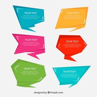Projeto de design geométrico de bolhas de discurso plano