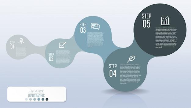 Projeto de diagrama de infográfico com fluxograma de processo de etapa
