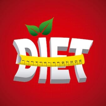 Projeto de dieta sobre ilustração vetorial de fundo vermelho