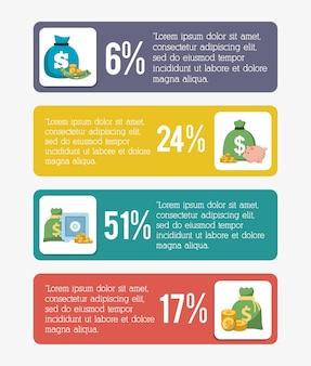Projeto de dinheiro de infografia, ilustração vetorial
