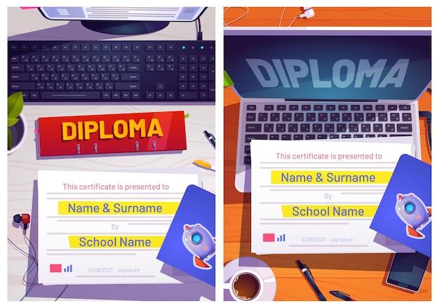 Projeto de diploma escolar com vista superior da mesa do computador