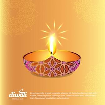 Projeto de diwali com fundo amarelo e tipografia vector
