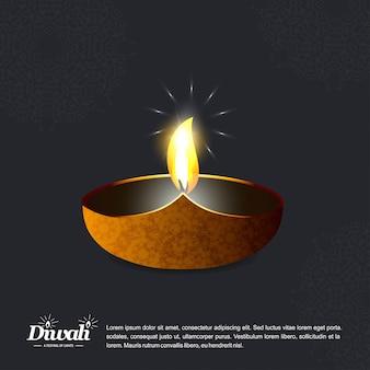 Projeto de diwali com fundo escuro e tipografia vector