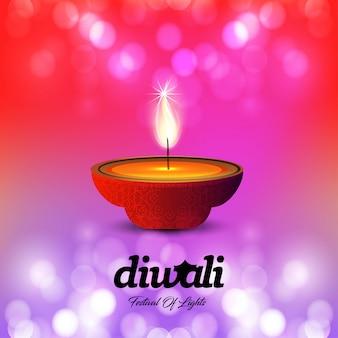 Projeto de diwali com fundo rosa e tipografia vector