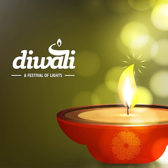 Projeto de diwali com fundo verde e tipografia vector
